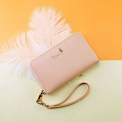 ❥Rose Quartz(Gold Logo) ♥ Medium Zip Around Wristlet [Cow Leather]