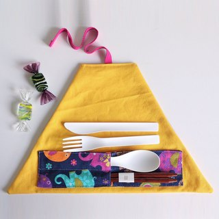 Utensil Wrap (Colorful Elephants x Yellow)
