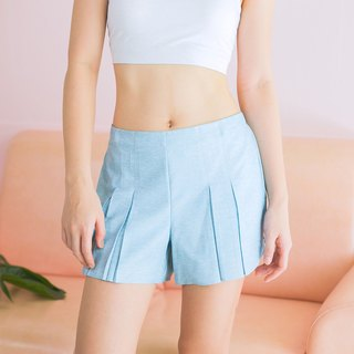 Pleated Shorts - Blue