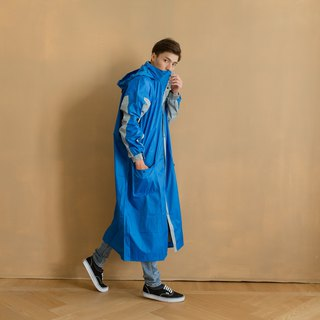 Relaxed Frontal One-Piece Raincoat - Royal Blue/Light Gray