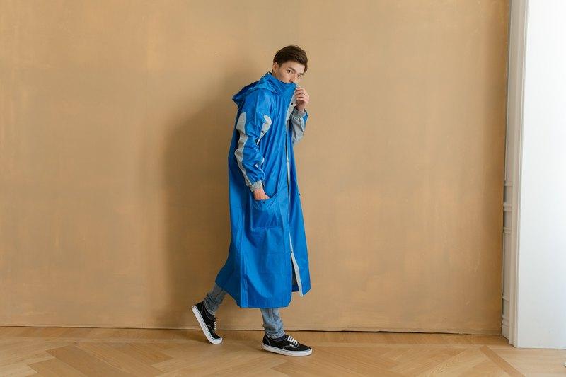 勁馳率性前開連身式雨衣-寶藍/淺灰