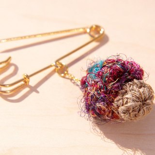 Hand-woven cotton forest girl Department of Forestry brooch / pin / pin crochet / Crochet brooch - cotton saris line mushrooms brooch (mixed color peach purple)