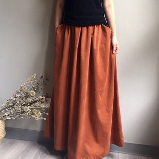 *Forest Gingerbread House*European Elegant Persimmon Glossy Corduroy and Long Skirt 100% Made in Japan