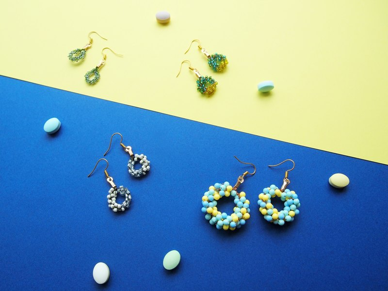 Custom elegant Japanese hand-woven blue and green yellow with twinkle beads winter rejection earrings BUE030