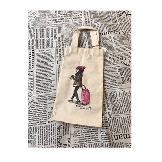 Hand-painted canvas girl green drink bag | canvas drink bag | thermos bottle special