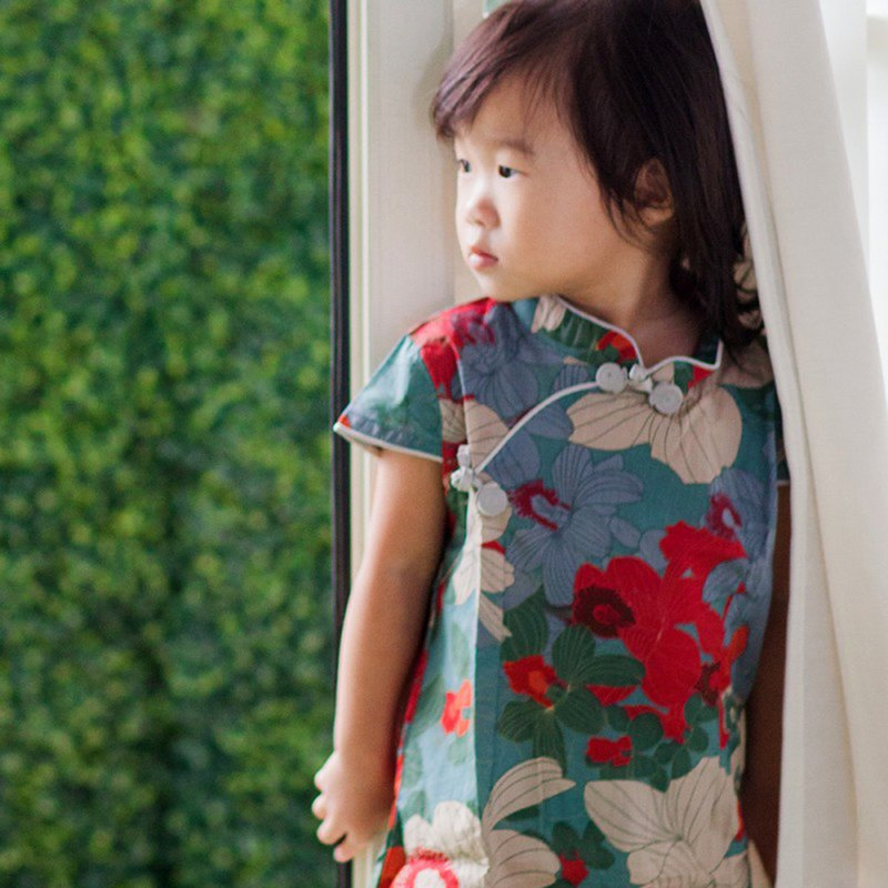 兒童旗袍 古風 四季款 花系列藍綠