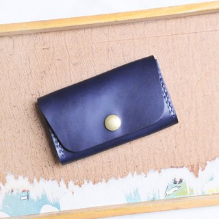 Super Large Capacity Card Holder - Indigo NAVY Sew Leather Material Bag Business Card Holder
