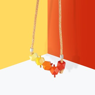 Puppets 3D Stereo Orange Graded Necklace Necklace
