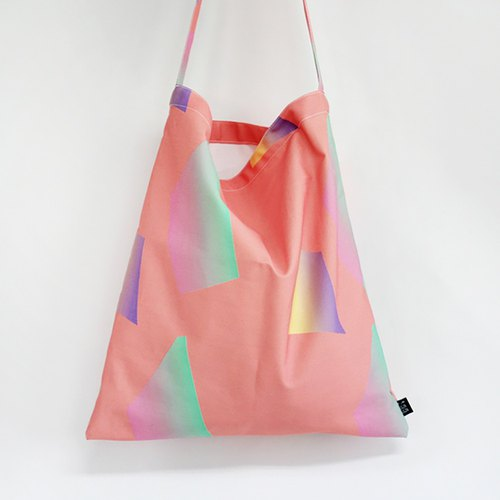 Geometric color side canvas backpack green bag / sogon sogon