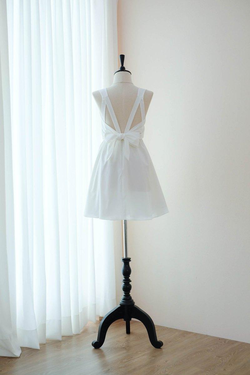 白色禮服伴娘禮服露背派對雞尾酒短禮服