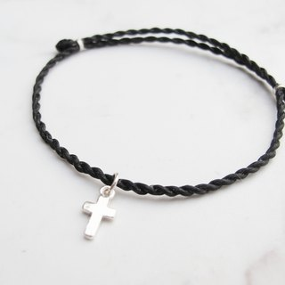 Bigman Taipa [handmade silver] sterling silver cross × wax rope bracelet cross belief main god