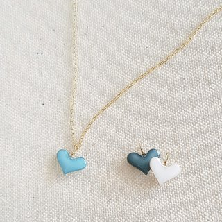 pastel mini heart pendant&necklace <blue, blue gray, white>