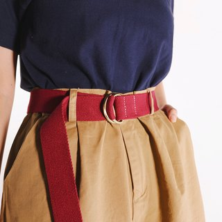 Jujube red / simple copper buckle belt / wear essential items
