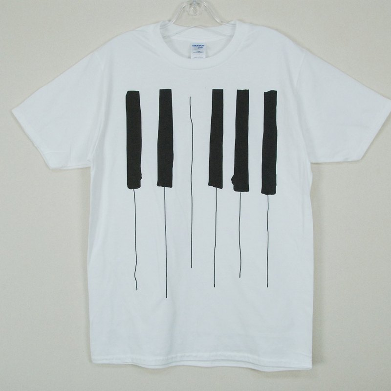 "New Designer-T-shirt: 【Piano】 Short Sleeve T-shirt ""Neutral / Slim"" (White) -850 Collections"
