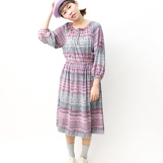 【RE0503D1162】 retro loose gray purple geometric long-sleeved thin spring and summer ancient dress