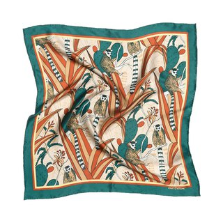 Shuangcheng mind Paradise Series Lemur cactus printed silk satin small square dark green