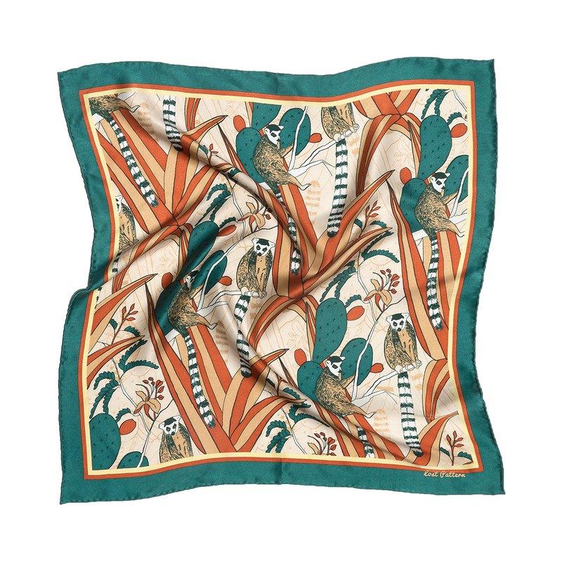 雙成記樂園系列狐猴仙人掌印花真絲緞面小方巾墨綠色