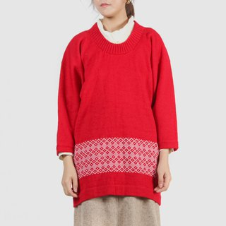[Egg plant vintage] red trough rice and kimono wide-sleeved vintage sweater