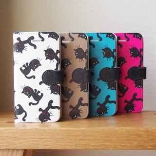 Notebook type phone case - Black Cats -