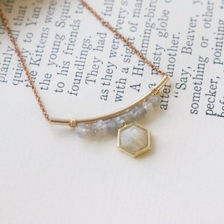 Spectrum stone natural stone brass necklace 1013 (free)