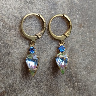 Vintage Iris and Blue Glass Earrings