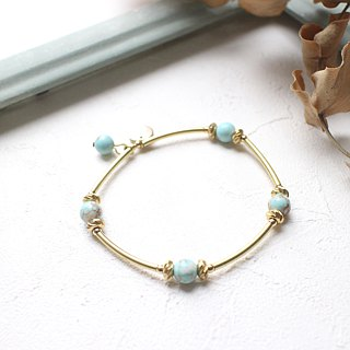 Summer green- Brass handmade bracelet