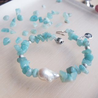Nature Amazonite with nature freshwater pearl bracelet