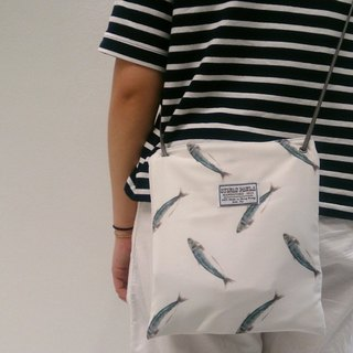 Hand-painted watercolor pouch slung white anchovies