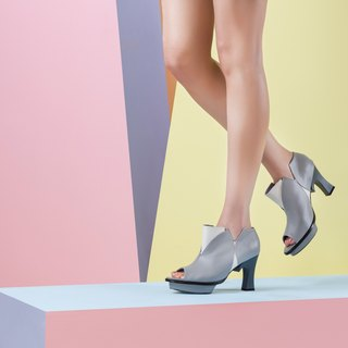 Tulip (Gray handmade leather shoes)