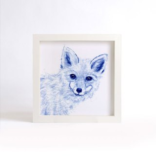 """Visit"" blue copy painting series - Fox (excluding frame)"