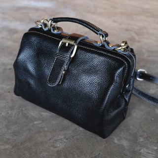 Doctor Shoulder Leather Bag / Black Crossbody Bag