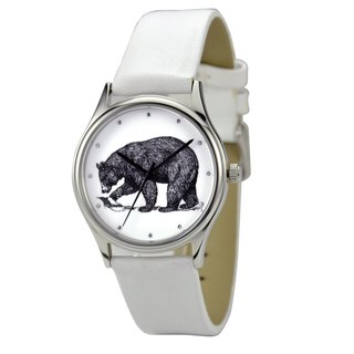 Animal (Bear) illustration Watch White Band Unisex Free Shipping Worldwide