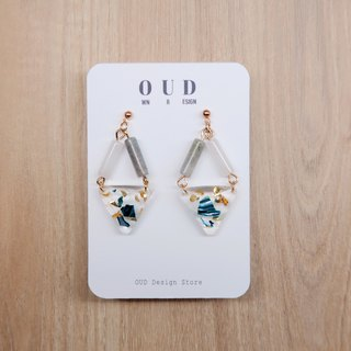 OUD Original-Natural Gem-14K gf-White Jade-Labradorite Geometric Earring/Clip-on
