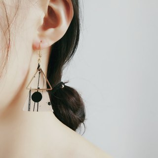 [Polish ink series] ink Chinese style pure hand-tanned leather leather dyed earrings ear clip earrings