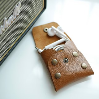 Handmade soft leather coin purse, earphone pocket