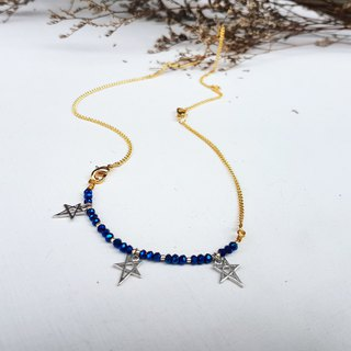 Copper Handmade Blue Crystal Gold Star Bracelet & Necklace Activities Dual Design