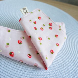 Lovely [Japan double yarn custom] small strawberry handkerchief, hand towel, saliva towel [Pink]