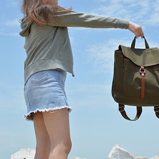 water proof waxed canvas,laptop backpack Rucksack -Tanya in Army Green(no.102)