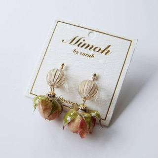 Pink Mini Roses Earrings with Pumpkin Beads