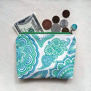 Hand-painted Storage bag cosmetic bag purse bag small debris objects pouch bag package hand-painted blue and green colored zipper Henna Mandala design Mandala Zen Hanna Man pedicle about ethnic Indian painted canvas