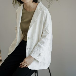 Hematemesis recommended white | Like a dream French loose elegant cotton and linen suit embroidery theme lazy wind shoulder nine sleeve casual coat neutral male and female couple jacquard texture sense of linen cotton material two colors optional | Fanta t