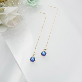 Swarovski Crystal 925 Silver Earring (Color: Navy Blue)