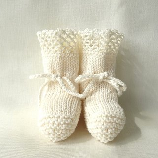 3M~ organic cotton-linen lacy baby booties 393
