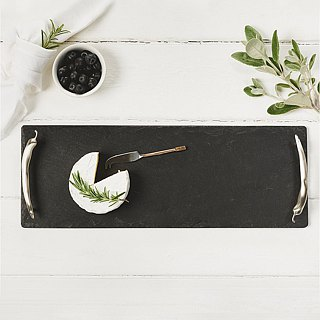 British Selbrae House Copper Handle Natural Black Slab Long Cutting Board/tray 42cm - Spot