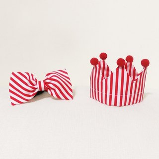 Ella Wang Design Crown Crown cap + Bowtie red tie cats birthday red and white striped kit