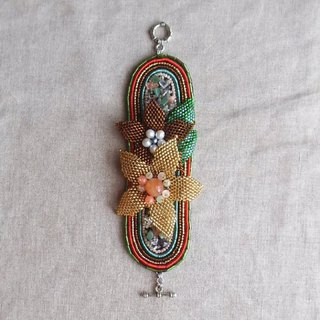【Beads embroidery】 Stitch flower full bloom bracelet