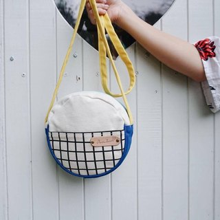 mini crossbody circle bag small size grid pattern,white yellow and blue colour