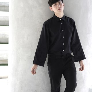 'Leonard' Wide Sleeve Shirt (Black)