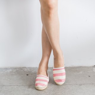 Japanese fabric left and right foot straw shoes - Stripe - Cherry Blossom