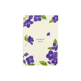 Flower bloom horizontal line notebook M size 04. Georgia blue